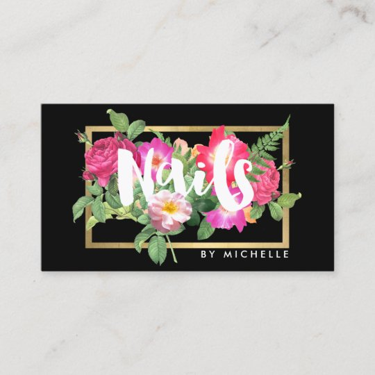 Beauty florals nail salon black business card zazzle beauty florals nail salon black business card reheart Gallery