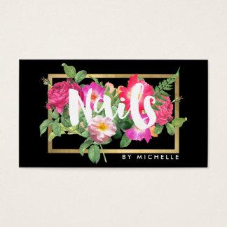 Beauty Florals Nail Salon Black Business Card