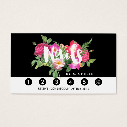 Beauty Florals Nail Salon Black Loyalty Card