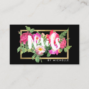 Nail business cards zazzle uk beauty florals nail salon black business card colourmoves