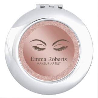 Beauty Girl Lash & Brow Makeup Artist Rose Gold Compact Mirror