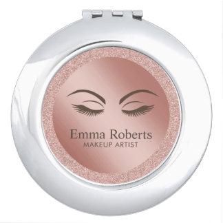 Beauty Girl Lash & Brow Makeup Artist Rose Gold Travel Mirror