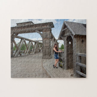 Beauty girl on old-time bridge jigsaw puzzles