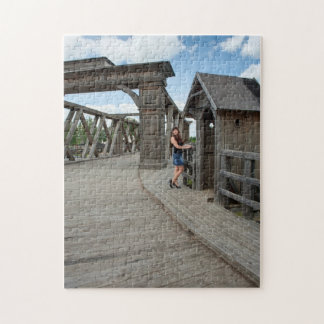 Beauty girl on old-time bridge jigsaw puzzle