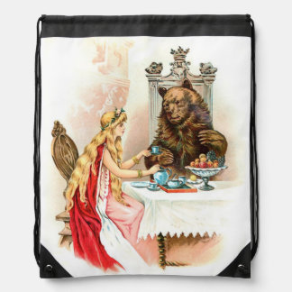 Beauty In Pink And The Beast Drawstring Bag