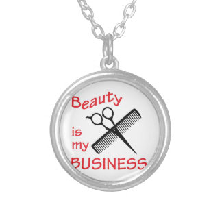 Beauty Is My Business Round Pendant Necklace