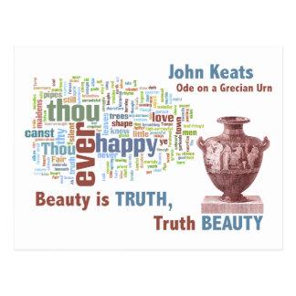 Beauty is Truth - John Keats - Grecian Urn Post Card