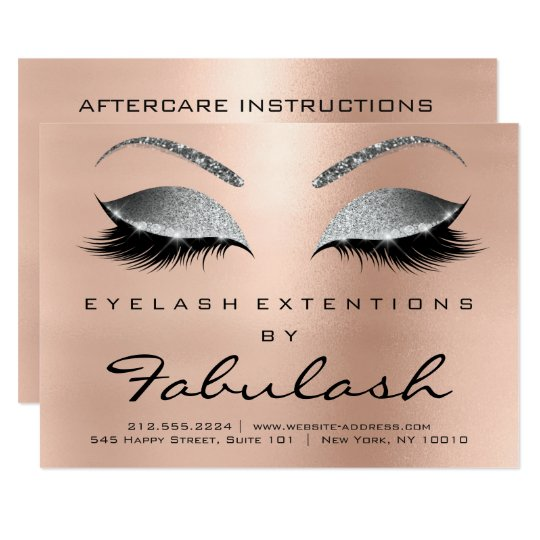 Beauty Lashes Extension Aftercare Instruction Grey Card