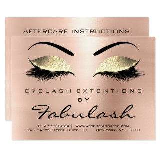 Beauty Lashes Extension Aftercare Instruction Pink Card