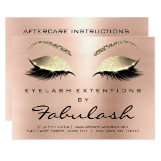 Beauty Lashes Extension Aftercare Instruction Rose Card