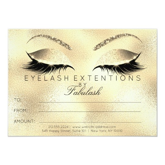 Beauty Lashes Extension Makeup Certificate Gift Card