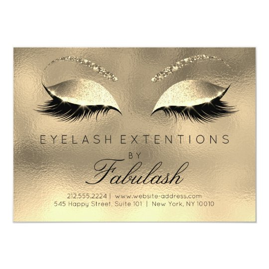 Beauty Lashes Extension Salon Aftercare Gold Glam Card