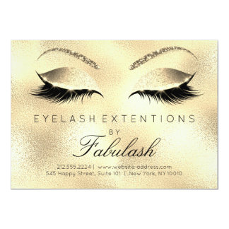 Beauty Lashes Extension Salon Aftercare Gold Glitt Card