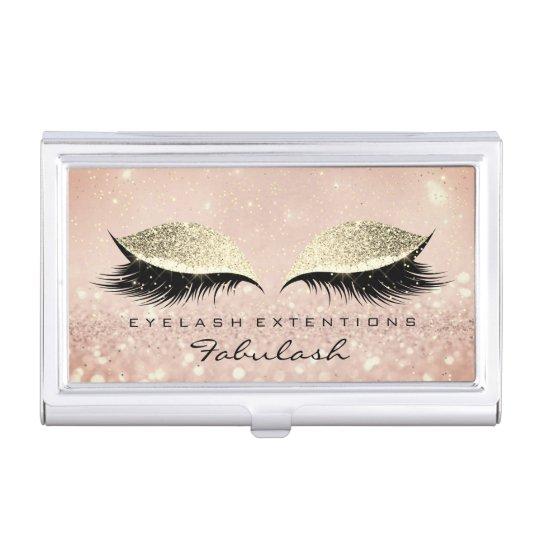 Beauty Lashes Makeup Gold Pink Blush Glitter Business Card Holder