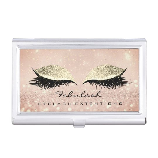 Beauty Lashes Makeup Rose Gold Glam Glitter Business Card Holder