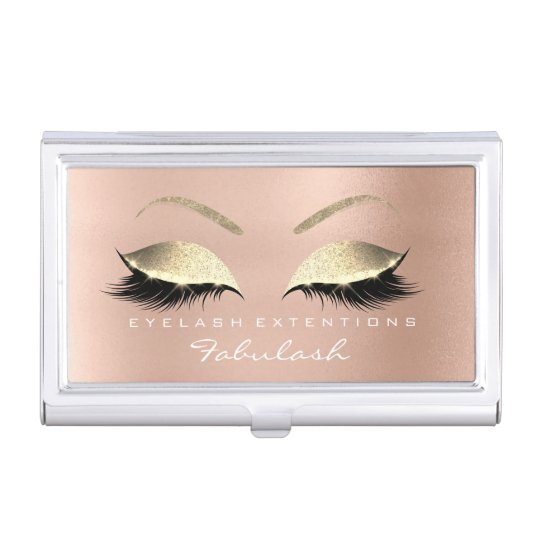 Beauty Lashes Makeup Stylist Rose Gold Pink Glitte Business Card Holder