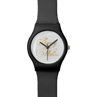 Beauty Lies Within Quote Gold Faux Foil Sparkly Watch