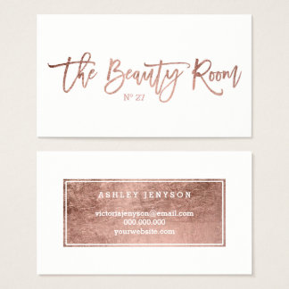 Beauty logo elegant faux rose gold typography business card