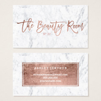 Beauty logo elegant rose gold typography marble business card