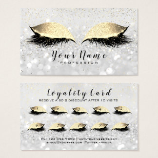 Beauty Loyalty Card 10 Makeup Lashes Gold Gray WOW