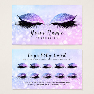 Beauty Loyalty Card 10 Makeup Lashes  Miami PInk