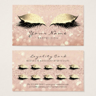 Beauty Loyalty Card 10 Makeup Lashes Rose Gold WOW