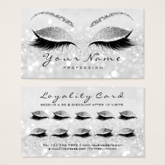 Beauty Loyalty Card 10 Makeup Lashes Silver Gray1