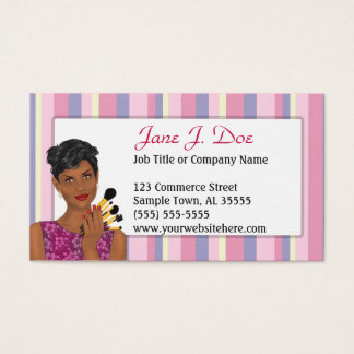 Beauty Makeup Artist Pink Stripe, African American Business Card