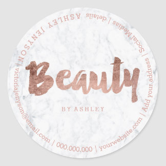 Beauty modern faux rose gold typography marble classic round sticker