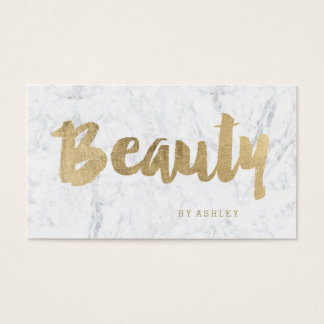 Beauty modern gold typography marble business card