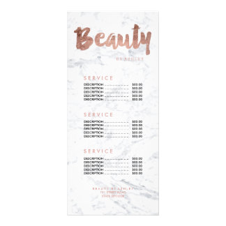 Beauty modern gold typography marble price list rack card