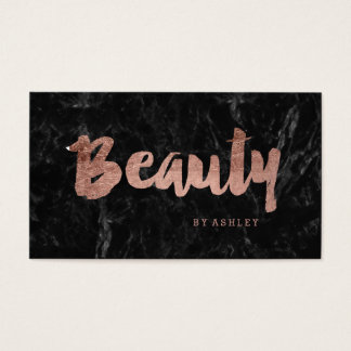 Beauty modern rose gold typography black marble business card