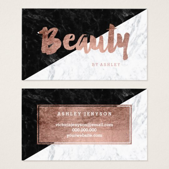 Beauty modern rose gold typography block marble business