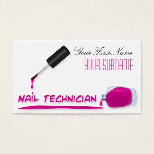 Beauty Nail Salon Pink Polish Bottle Manicurist Business