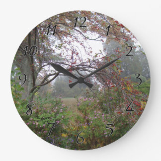Beauty of Autumn Fog Large Clock