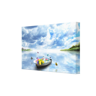 Beauty of Nature - Lake Boat Butterflies Canvas Print