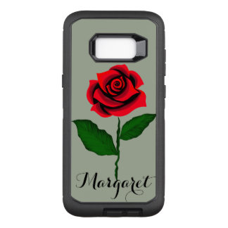 beauty of red rose monogram by virtue of fashion OtterBox defender samsung galaxy s8+ case
