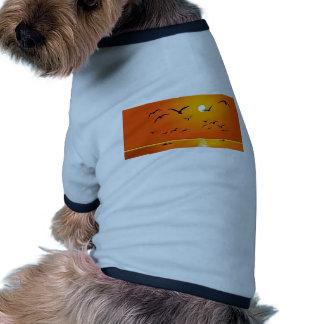 Beauty of Sunrise and Birds flying on River Ringer Dog Shirt