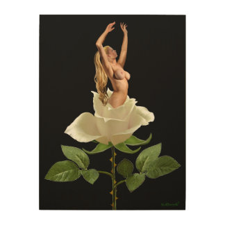 BEAUTY OF THE WHITE ROSE WOOD WALL ART