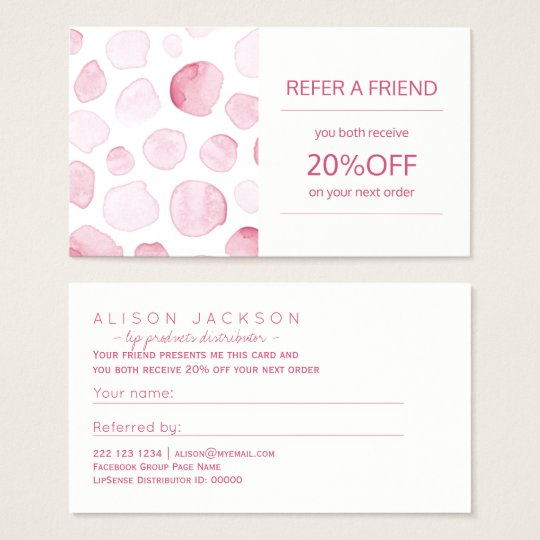 Beauty products distributor referral template business card