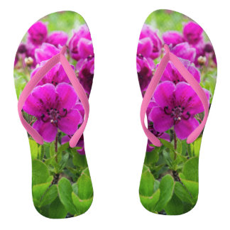Beauty purple flowers flip flops