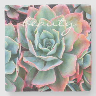 """Beauty"" Quote Mint Green Cactus Close-up Photo Stone Coaster"