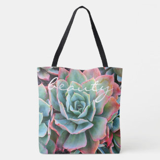 """""""Beauty"""" quote mint green cactus close-up photo Tote Bag"""