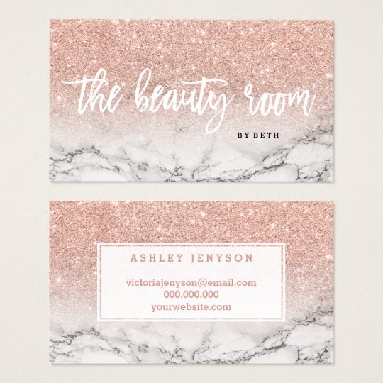 Beauty room typography rose gold glitter marble business