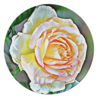 Beauty Rose Melamine Plate