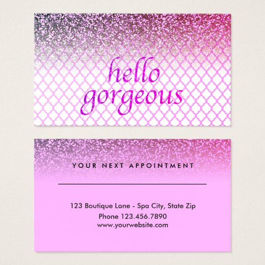 Beauty Salon Appointment Hello Gorgeous Quatrefoil Business Card