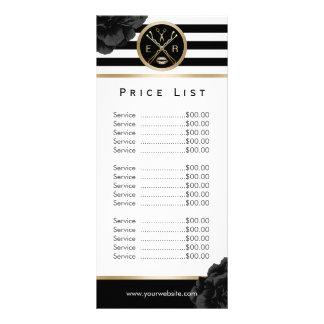 Beauty Salon Black Floral Modern Stripe Price List Rack Card