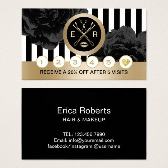 Beauty Salon Black Floral Modern Stripes Loyalty Business Card