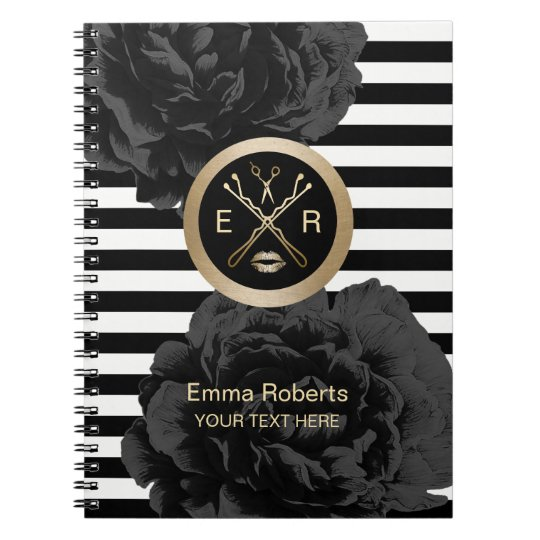 Beauty Salon Elegant Black Floral Modern Stripes Notebook