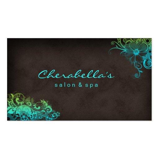 Beauty Salon Floral business card Blue Green Brown